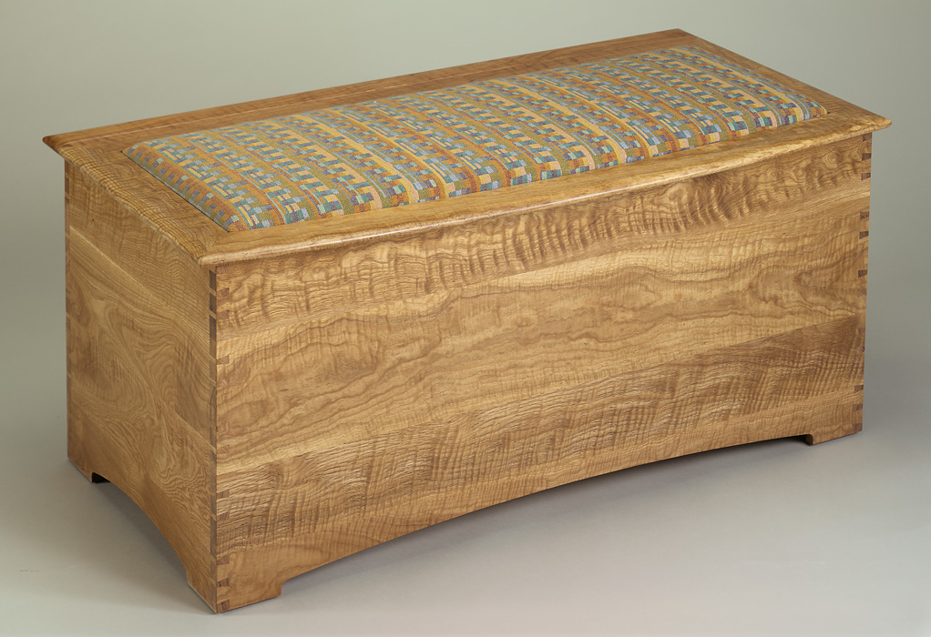 Upholstered Curly Oak Blanket Chest