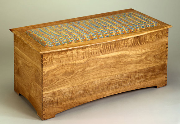 Upholstered Curly White Oak Blanket Chest
