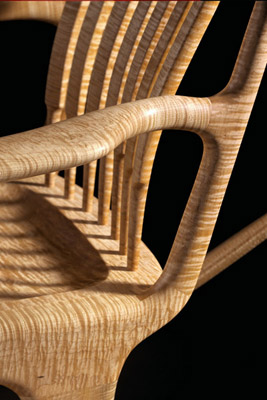 Curly Maple Rocking Chair - Detail